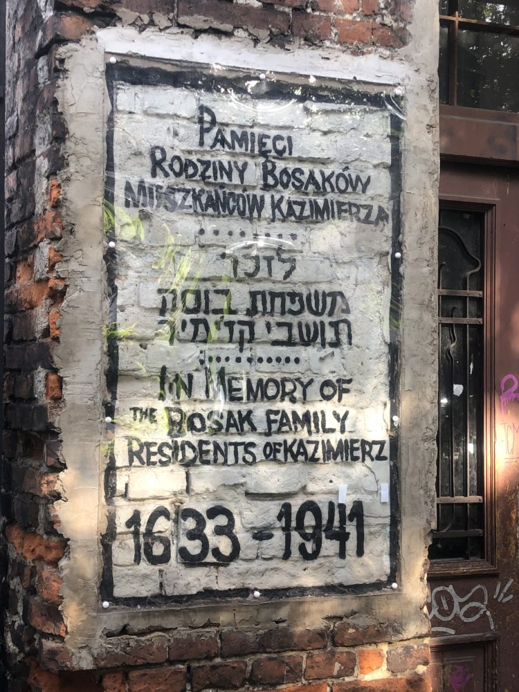 QUARTIERE EBRAICO KAZIMIERZ - scritta commemorativa vicino ad un portone