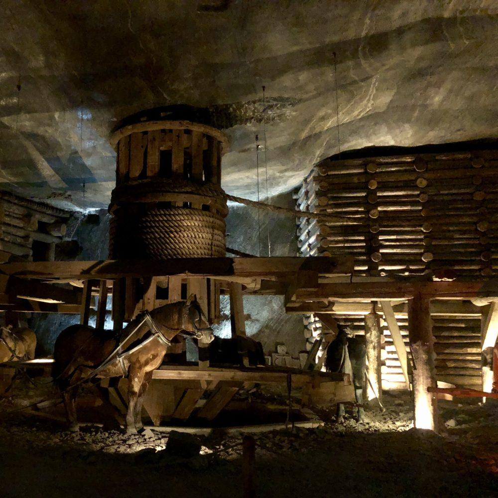 Miniere Wieliczka: sistema di sollevamento blocchi di sale della miniera wieliczka